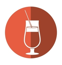 Cocktail popular alcohol drink straw and shadow vector