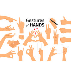 Colored hand gesture set vector