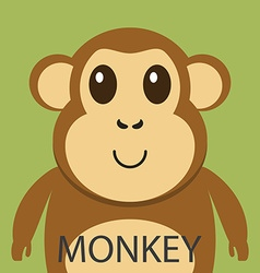 Cute brown monkey cartoon flat icon avatar vector