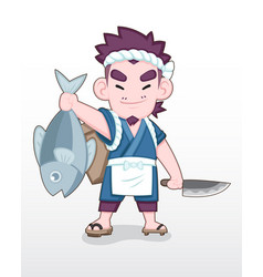 cute style japanese fisherman with big ocean fish vector image