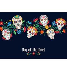 day dead flower skull background design vector image