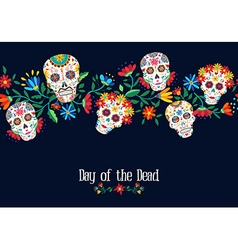 Day of the dead flower skull background design vector image