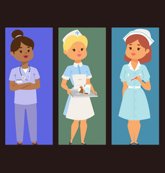 Doctor nurse character brochure medical vector
