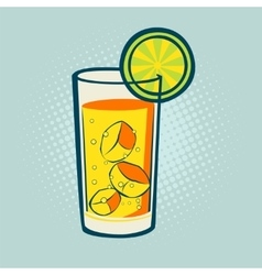 Drink with lime and ice vector