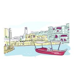 Dubai sketch boat isolated watercolor vector