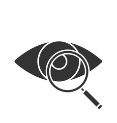 eye with magnifying glass glyph icon vector image