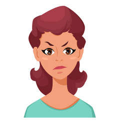 Face expression of a woman - dissatisfied angry vector