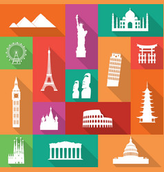 Famous monuments icons vector
