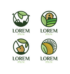 farming logo set vector image