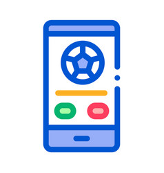 football match on phone icon outline vector image