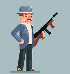 Gangster criminal submachine gun thug character vector