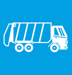 garbage truck icon white vector image