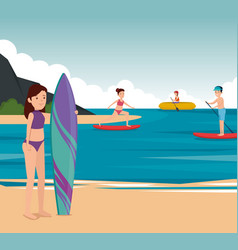 Girls and boy training fitness activity vector