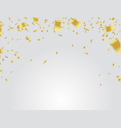 golden confetti falling on white background vector image