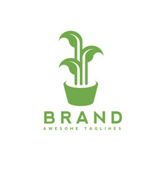 green leaves growing in pot logo concept vector image