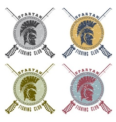 Grunge spartan fishing club labels with warrior vector