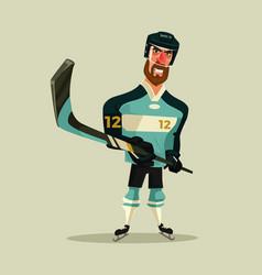 Happy smiling hockey player character mascot vector