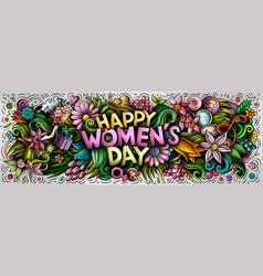 Happy womens day hand drawn cartoon doodles vector