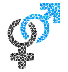 Heterosexual symbol collage of filled circles vector