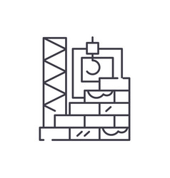 high rise construction line icon concept high vector image