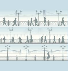 horizontal banners embankment with people vector image