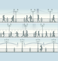 Horizontal banners of embankment with people vector