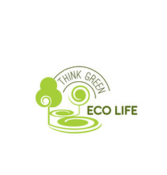 icon green trees for eco life vector image