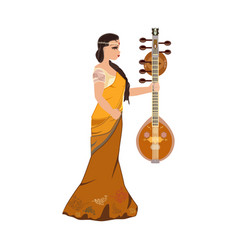 Indian girl with saraswati veena design vector