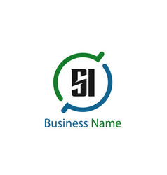 Initial letter si logo template design vector