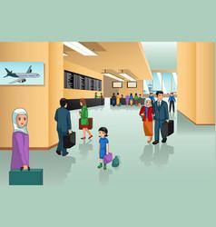 Inside airport scene vector