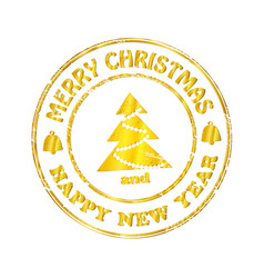 isolated stamp christmas and happy new year vector image