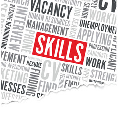 Job skills word background broken paper vector