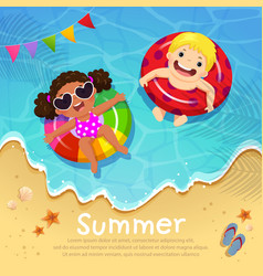 Kids floating on inflatable at beach in summer vector
