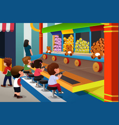 kids playing in carnival games vector image