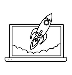 Laptop with a rocket icon cartoon black and white vector