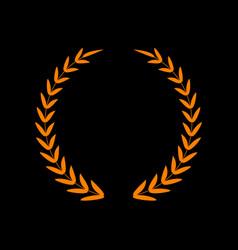 Laurel wreath sign orange icon on black vector
