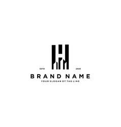 Letter h and build logo design vector