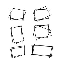 line set of frame drawn hand sketch vector image
