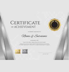 Luxury certificate template with elegant silver vector