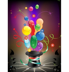 Magic hat and balloons vector