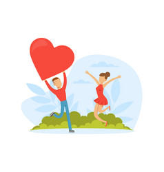 male and female feeling love and affection holding vector image