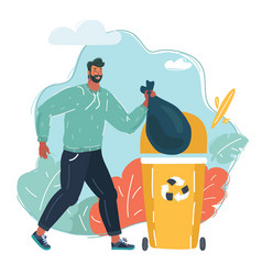 man throws a garbage in trash vector image