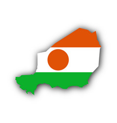 map and flag of niger vector image
