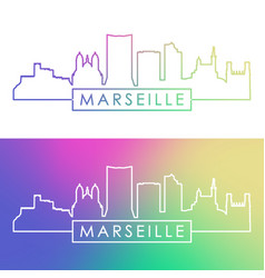 marseille skyline colorful linear style vector image
