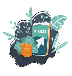 money app in smartphone vector image