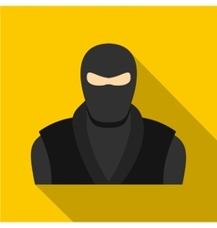 Ninja in black clothes and mask icon flat style vector image