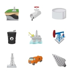 Oil production icons set cartoon style vector image