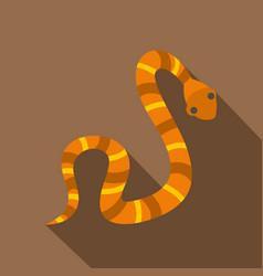 Orange striped snake icon flat style vector