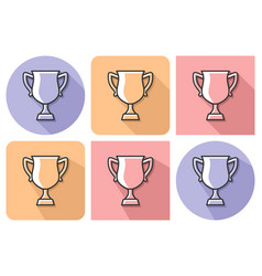 outlined icon of winner trophy cup with parallel vector image
