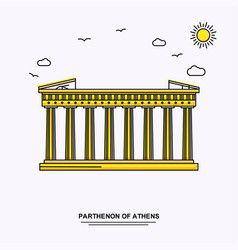 Parthenon of athens monument poster template vector